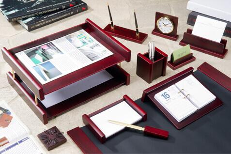 Desk Organiser Tray Wooden Set
